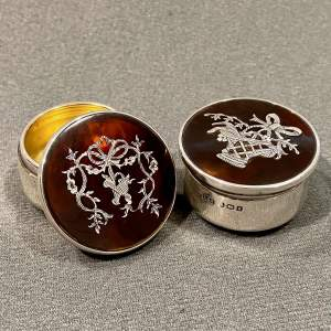 Edwardian Silver and Tortoiseshell Pair of Pill Pots