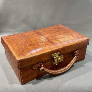 Early 20th Century Quarter Panel Crocodile Skin Case
