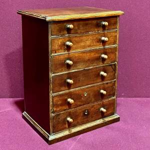 19th Century Mahogany Miniature Bank Of Drawers