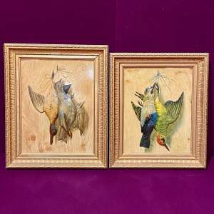 Early 20th Century Pair Of Trompe L'oeil Pictures Of Game Birds