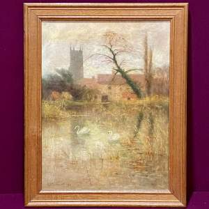 Early 20th Century Painting Of Stamford Church by R A Gardner