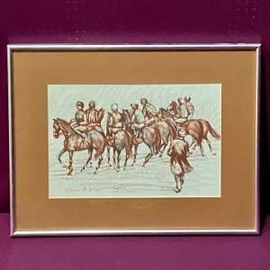 Pastel Painting of Race Horses at Start by Kieron McGoran