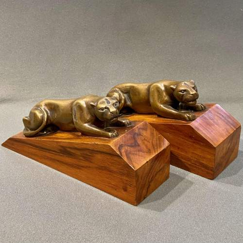 Pair of Art Deco Bronze Panther Bookends image-1