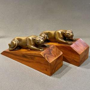 Pair of Art Deco Bronze Panther Bookends