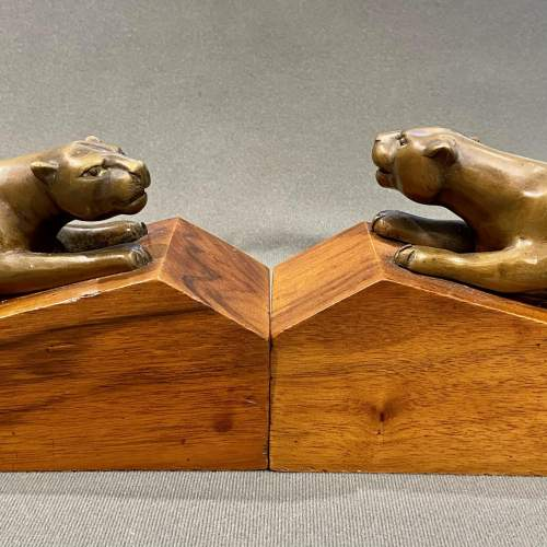 Pair of Art Deco Bronze Panther Bookends image-3