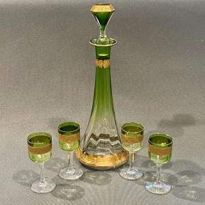 Moser Green Glass Decanter and Four Glasses