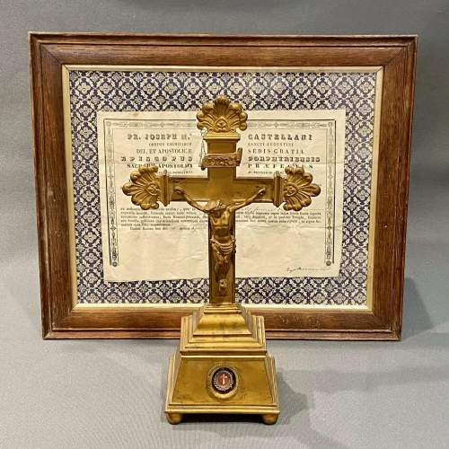Mid 19th Century Brass Relic Cross with Framed Authenticity image-1