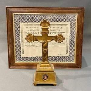 Mid 19th Century Brass Relic Cross with Framed Authenticity