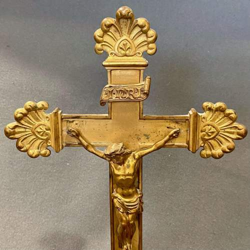 Mid 19th Century Brass Relic Cross with Framed Authenticity image-3