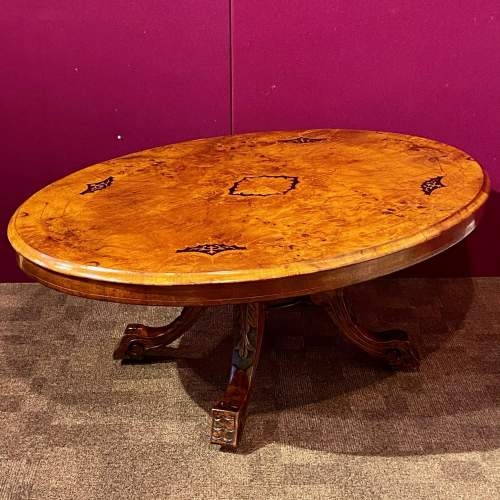 Victorian Inlaid Burr Walnut Coffee Table image-1