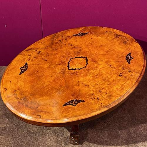 Victorian Inlaid Burr Walnut Coffee Table image-3