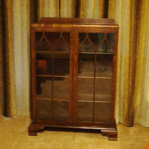 Edwardian Walnut Glazed Bookcase