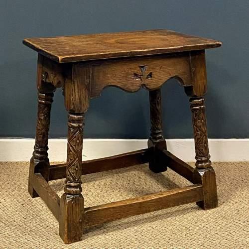 Carved Oak Joint Stool image-1