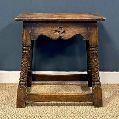 Carved Oak Joint Stool image-2