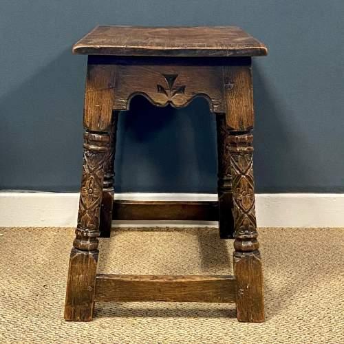Carved Oak Joint Stool image-3