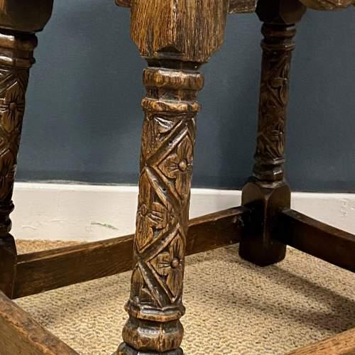 Carved Oak Joint Stool image-5