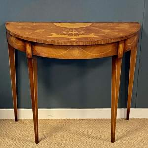 Early 20th Century Inlaid Mahogany Demi Lune End Table