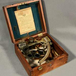 19th Century Boxed Sextant by Henry Hughes and Son