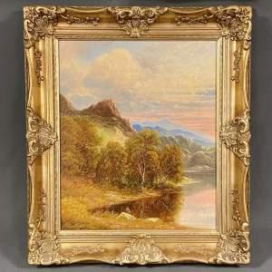 Original Andrew Curtis Oil on Canvas Lakeside Landscape