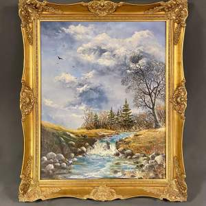 Large Oil on Canvas Mountain Stream Landscape Painting