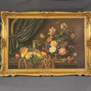 Very Large Oil on Canvas Still Life of Flowers and Fruit