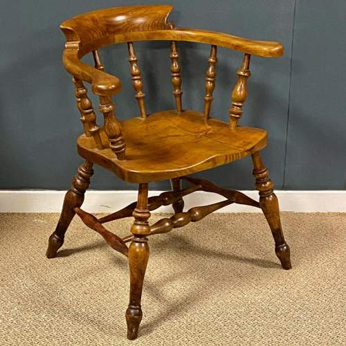 Vintage Elm and Beech Smokers Bow Armchair image-1