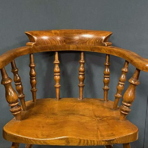 Vintage Elm and Beech Smokers Bow Armchair image-3