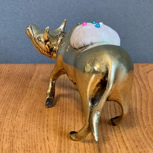 Vintage Brass Indian Cow Pin Cushion image-3
