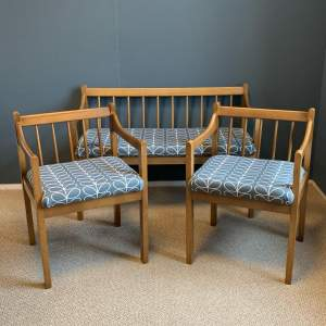 Mid 20th Century Teak Bench and Two Chairs