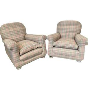Pair of Edwardian Deep Lounge Armchairs
