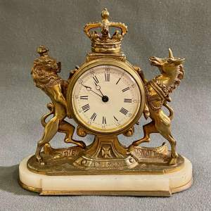 19th Century Gilt Bronze Royal Coat Of Arms Decorative Clock