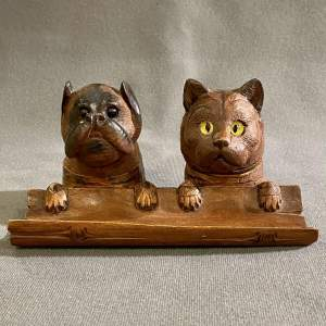 19th Century Black Forest Cat and Dog Inkwell and Stamp Holder