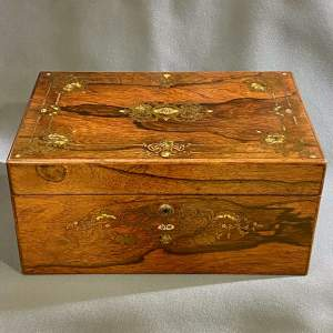 Early 19th Century Brass and Abalone Inlaid Rosewood Box