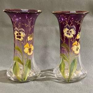 Pair of Mont Joye Legras Glass Vases