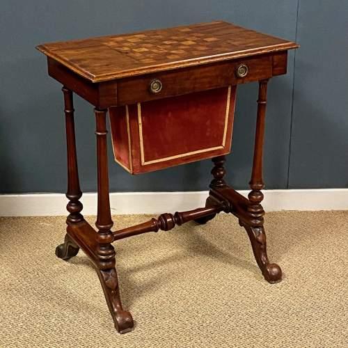 Victorian Inlaid Mahogany Sewing or Games Table image-1