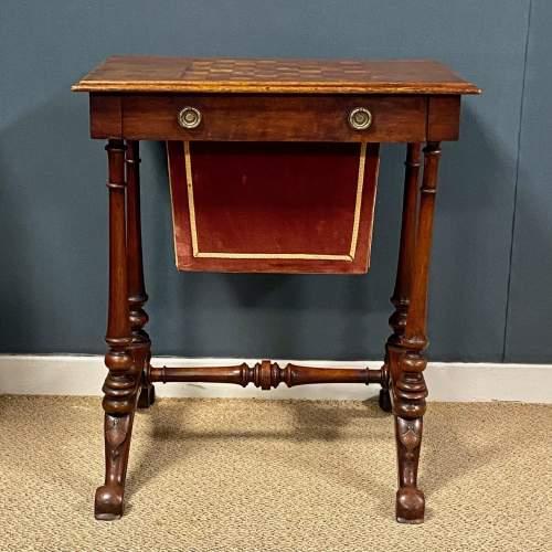 Victorian Inlaid Mahogany Sewing or Games Table image-2