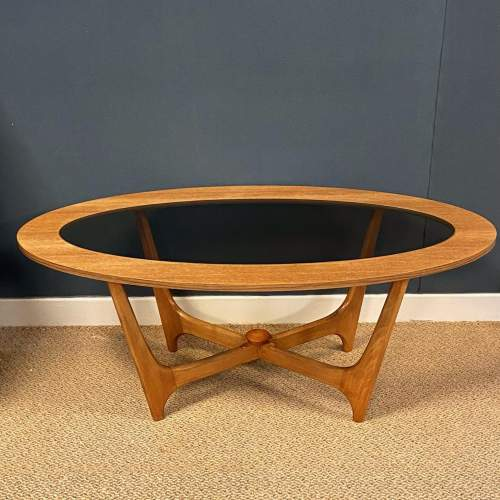 1970s Oval Teak and Glass Coffee Table image-1