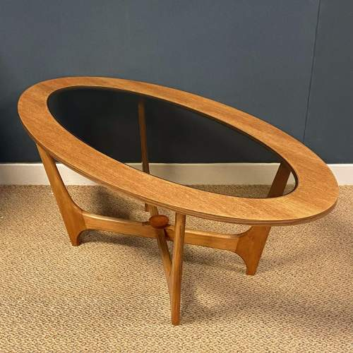 1970s Oval Teak and Glass Coffee Table image-2