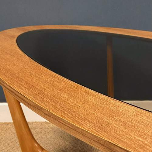 1970s Oval Teak and Glass Coffee Table image-4