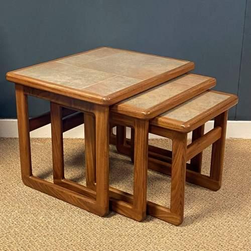 1970s Nest of Three Teak Tiletop Tables image-1