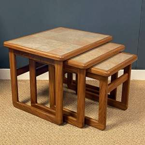 1970s Nest of Three Teak Tiletop Tables