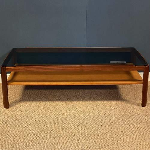 1970s Teak and Glass Two Tier Coffee Table image-2