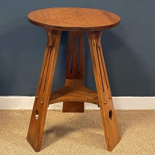 Arts and Crafts Oak Three Leg Table image-1
