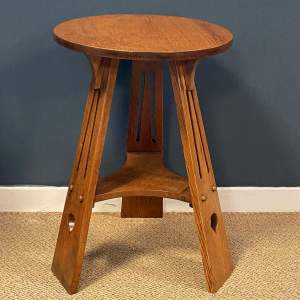 Arts and Crafts Oak Three Leg Table