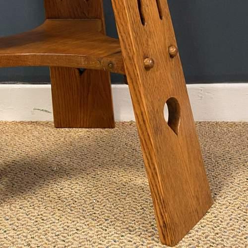 Arts and Crafts Oak Three Leg Table image-2