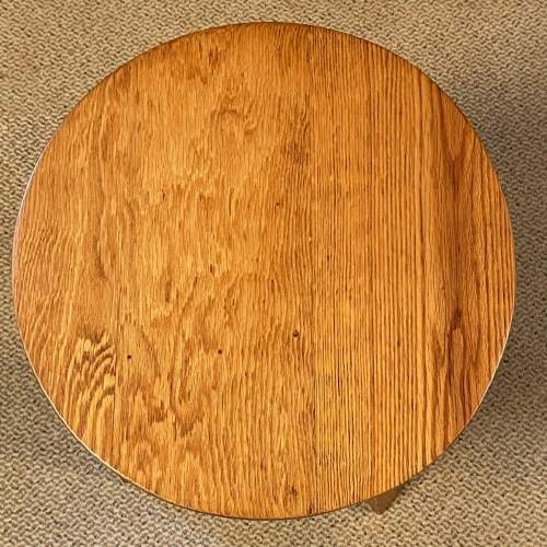 Arts and Crafts Oak Three Leg Table image-4