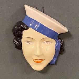Art Deco Czech Face Wall Plaque