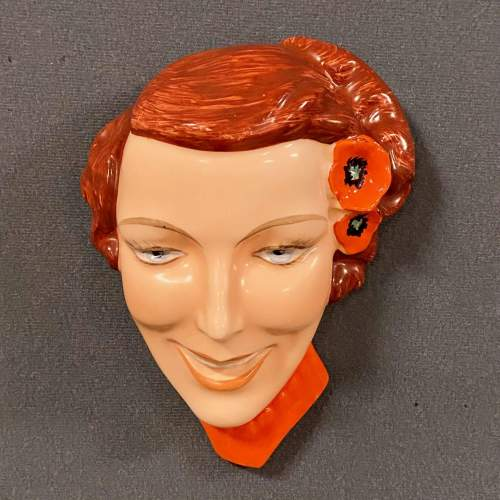 Art Deco Czech Lady in Red Face Wall Plaque image-1
