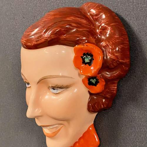 Art Deco Czech Lady in Red Face Wall Plaque image-2