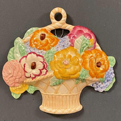 1930s Beswick Flower Basket Wall Plaque image-1